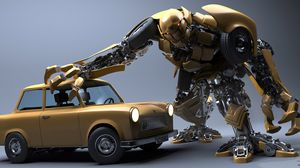 Preview wallpaper robot, car, wreck