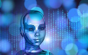 Preview wallpaper robot, cyborg, binary code, face, metal