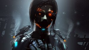 Preview wallpaper robot, cyborg, eyes, dark
