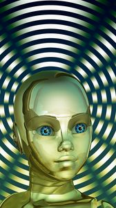 Preview wallpaper robot, face, golden, circles, cute