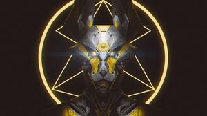 Preview wallpaper robot, mask, wolf, art, dark