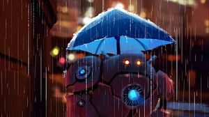 Preview wallpaper robot, street, rain, art, umbrella