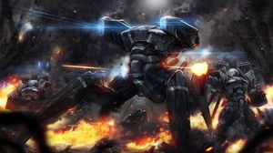 Preview wallpaper robots, machinery, fire, war, shooting