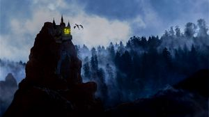 Preview wallpaper rock, castle, dragon, fog, forest