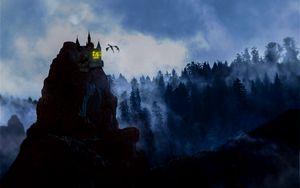 Preview wallpaper rock, castle, dragon, fog, forest