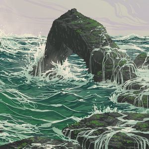Preview wallpaper rock, waves, sea, art, vector