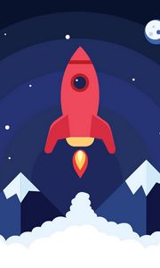 Preview wallpaper rocket, launch, smoke, art