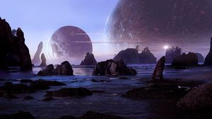 Preview wallpaper rocks, water, planets, landscape, 3d