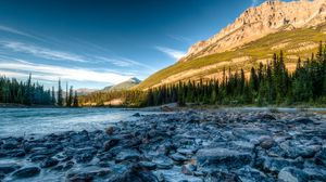 Preview wallpaper rocky mountains, river, stones, athabasca, alberta, canada, hdr