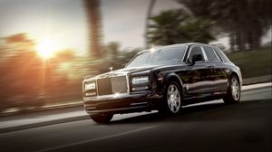 Preview wallpaper rolls royce, phantom, luxury, side view, black, movement