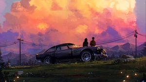Preview wallpaper romance, love, car, sunset, art
