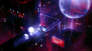 Preview wallpaper roof, people, art, cyberpunk, sci-fi