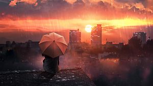 Preview wallpaper roof, rain, umbrella, night, sky, solitude, loneliness