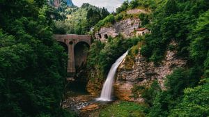 Preview wallpaper waterfall, precipice, current, trees, bridge