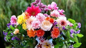 Preview wallpaper roses, gerberas, carnations, flowers, bouquet, mix, pitcher