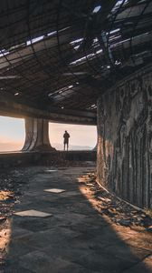 Preview wallpaper ruins, man, loneliness, buzludzha, bulgaria