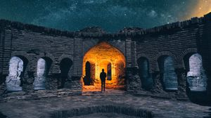Preview wallpaper ruins, silhouette, starry sky, architecture