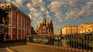 Preview wallpaper russia, st petersburg, church, bridge, building, street