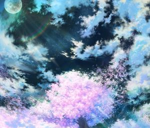Preview wallpaper sakura, art, sky, anime, pink
