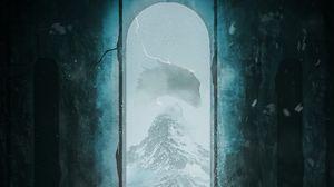 Preview wallpaper samurai, dragon, mountains, frame, art