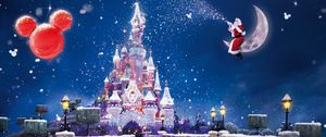 Preview wallpaper santa claus, magic, moon, snow, castle, balloons, holiday, christmas