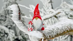 Preview wallpaper santa claus, new year, figurine, christmas, snow, ice, toy