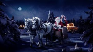 Preview wallpaper santa claus, sleigh, girl, horse, tree, night, christmas, bag, gifts