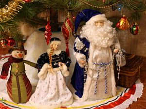 Preview wallpaper santa claus, snow maiden, snowman, christmas decorations, tree, new year