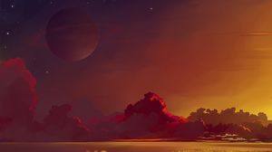 Preview wallpaper saturn, planet, horizon, clouds, art