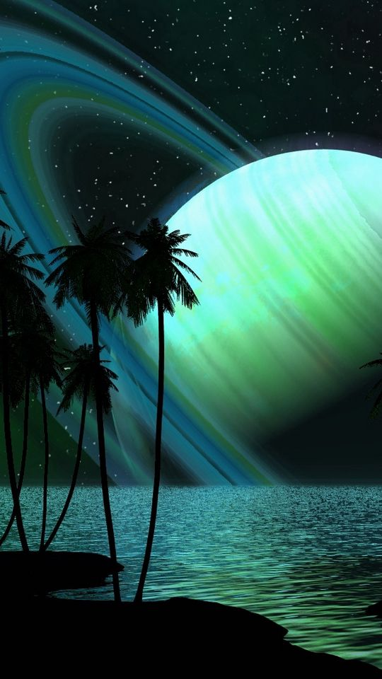 540x960 Wallpaper saturn, planet, palm trees, sky, light