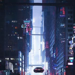 Preview wallpaper sci-fi, city, future, art, buildings, cars