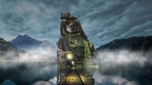 Preview wallpaper sculpture, photoshop, bridge, twilight, mountains, sky