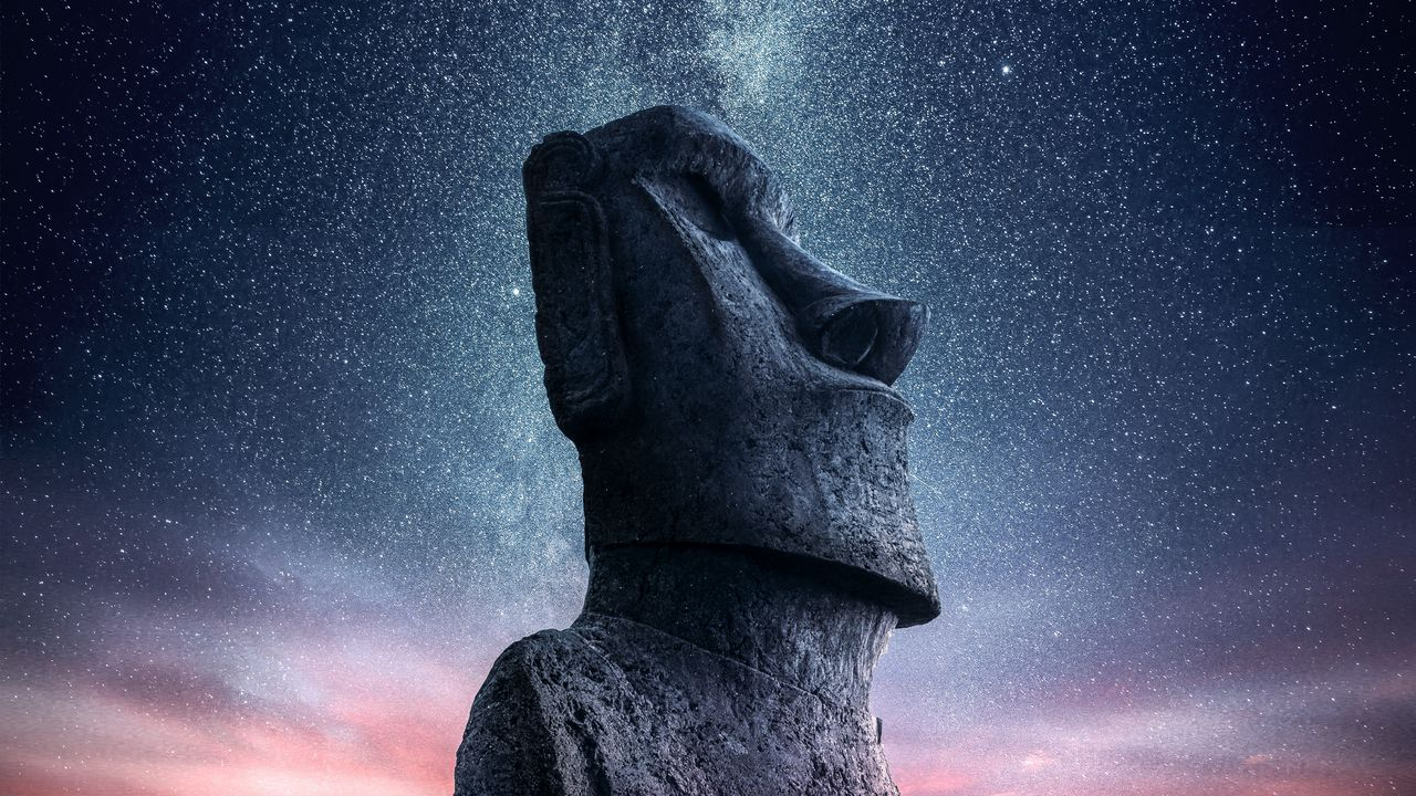 Wallpaper moai, statue, idol, easter island, starry sky