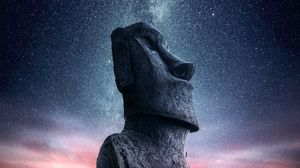 ... Preview wallpaper moai, statue, idol, easter island, starry sky