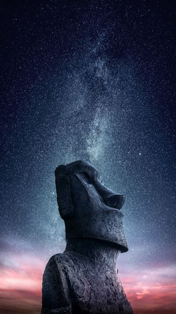 360x640 Wallpaper moai, statue, idol, easter island, starry sky
