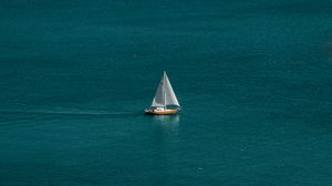 Preview wallpaper sea, boat, sailboat, water, horizon