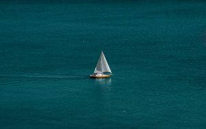 Preview wallpaper sea, boat, sailboat, water, horizon