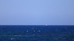 Preview wallpaper sea, boat, water, waves, minimalism, blue