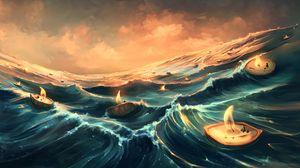 Preview wallpaper sea, candles, waves, art, fantasy
