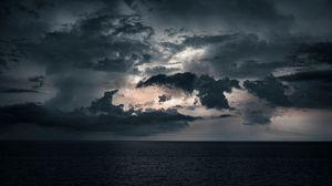 Preview wallpaper sea, clouds, water, horizon, dusk