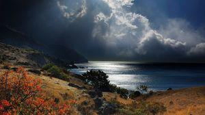 Preview wallpaper sea, crimea, sky, grass, beach, night