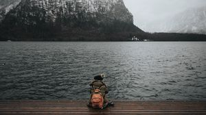 Preview wallpaper sea, man, freedom, loneliness, mountains