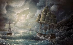 Preview wallpaper sea, sail, drawing, art, storm