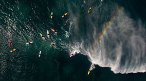 Preview wallpaper sea, surfers, aerial view, surfing, waves, rainbow
