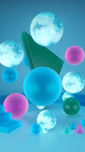 Preview wallpaper shapes, geometric, 3d, balls, spheres