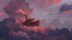 Preview wallpaper ship, clouds, art, sky, sail, fantastic