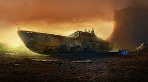 Preview wallpaper ship, destruction, beach, tent, man