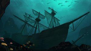 Preview wallpaper ship, diver, fish, underwater, art