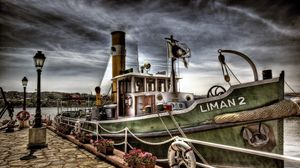 Preview wallpaper ship, dock, lights, sky, landscape