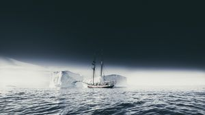 Preview wallpaper ship, iceberg, ice, fog, sea, sky